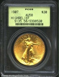 High Relief Double Eagles: , 1907 $20 High Relief, Wire Rim AU58 PCGS. This coin ...