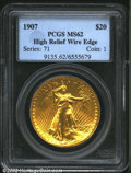 High Relief Double Eagles: , 1907 $20 High Relief, Wire Rim MS62 PCGS. This green-gold ...