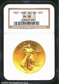 High Relief Double Eagles: , 1907 $20 High Relief, Wire Rim MS66 NGC. While we ...