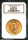 1908 $20 No Motto MS64 NGC. The orange-gold surfaces are frosty in luster quality with an average strike for this popula...