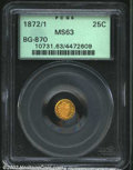 California Fractional Gold: , 1872/1 25C Indian Round 25 Cents, BG-870, R.4, MS63 PCGS. ...