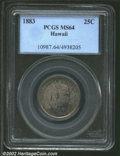 Coins of Hawaii: , 1883 25C Hawaii Quarter MS64 PCGS. Deeply toned with ...