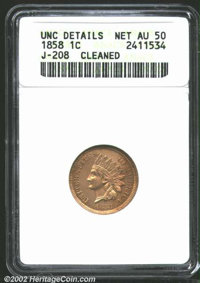 1858 P1C Indian Cent, Judd-208, Pollock-253, R.7--Cleaned--ANACS. Unc Details, Net AU50. Regular dies obverse as adopted...