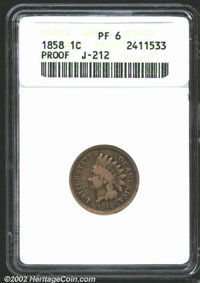 1858 P1C Indian Cent, Judd-212, Pollock-263, R.5, PR6 ANACS. Similar to the regular issue 1859 Indian cent, but with a b...