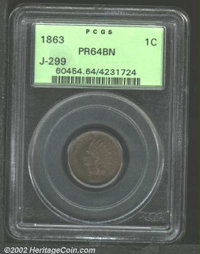 1863 1C One Cent, Judd-299, Pollock-359, R.3, PR64 Brown PCGS. Formerly offered as lot 7458 in our February 2001 Long Be...