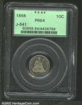 Patterns: , 1868 10C Ten Cents, Judd-641, Pollock-713, R.7, PR64 PCGS....