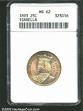 1893 25C Isabella Quarter MS62 ANACS. Well struck and lustrous with attractive tan-gold patina and no singularly mention...