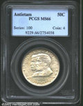 1937 50C Antietam MS66 PCGS. The lightly patinated, silver-gray and tan tinged surfaces are fully lustrous with nary a d...