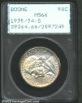 Commemorative Silver: , 1935/34-S 50C Boone MS66 PCGS. Wisps of peripheral golden-...