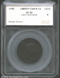 "Additional Certified Coins: , 1793 1C Liberty Cap Cent XF40 Light ""Ruffness"" SEGS (VF30 ..."