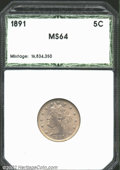 Additional Certified Coins: , 1891 5C Nickel MS64 Hallmark (MS63). The light lavender ...
