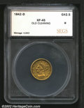 Additional Certified Coins: , 1842-D $2 1/2 Quarter Eagle XF45 Old Cleaning SEGS (XF45 ...
