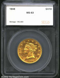 Additional Certified Coins: , 1848 $10 Eagle MS63 SEGS (MS63 Lightly Cleaned). With a ...