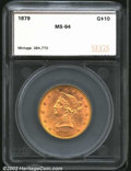 Additional Certified Coins: , 1879 $10 Eagle MS64 SEGS (MS63 Lightly Cleaned). This is ...