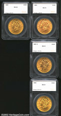 Additional Certified Coins: , 1894 $20 Double Eagle MS61 SEGS (MS60), with a vertical ...