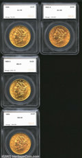 Additional Certified Coins: , 1896 $20 Double Eagle AU58 SEGS (AU50), sharply struck ...