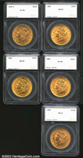 Additional Certified Coins: , 1897 $20 Double Eagle MS61 SEGS (AU55), lustrous with ...