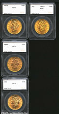 Additional Certified Coins: , 1898-S $20 Double Eagle MS62 SEGS (MS61), lustrous and ...