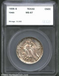 Additional Certified Coins: , 1935-S 50C Texas Half Dollar MS67 Toned SEGS (MS66). ...