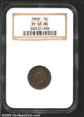 1868 1C PR64 Brown PCGS. An attractively toned proof, with dramatic die rotation of about 170 degrees. Although the surf...