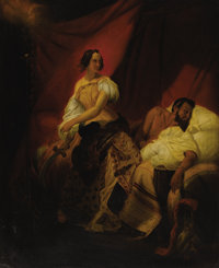EMILE JEAN HORACE VERNET (French 1789-1863) Judith & Holifer Oil on canvas mounted on masonite 42-1/2 x 35 inches (1...