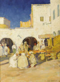 Fine Art - Painting, American:Modern  (1900 1949)  , JANE PETERSON (American 1876-1975). A Market, Biskra. Oil oncanvas. 24 x18-1/4 inches (61 x 46.4 cm). Signed lower righ...