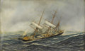 Fine Art - Painting, American:Antique  (Pre 1900), ANTONIO JACOBSEN (American 1850-1921). Sailing Ship St.Mary. Oil on canvas. 22 x 36 inches (55.9 x 91.4 cm). ...