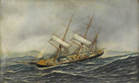 ANTONIO JACOBSEN (American 1850-1921) Sailing Ship St. Mary Oil on canvas 22 x 36 inches (55.9 x 91.4 cm)