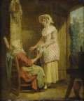Fine Art - Painting, European:Antique  (Pre 1900), FRANCIS WHEATLEY (British 1747-1801). The Affectionate Daughter. Oil on canvas. 12 x 10 inches (30.5 x 25.4 cm). ...