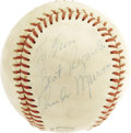 Autographs:Baseballs, 1970's Thurman Munson Single Signed Baseball. The fearless leaderof the Yankee World Championship squads of the disco era, ...