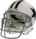 Football Collectibles:Helmets, 2006 Marcus Spears Game Worn Throwback Helmet. Battered white shell indicates just how rough it is to be a defensive end in...