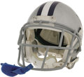 Football Collectibles:Helmets, 2006 Julius Jones Game Worn Helmet. The hard life of an NFL running back is evident from the frightening gouges and abrasio...