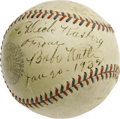 Autographs:Baseballs, 1932 Babe Ruth Single Signed Baseball. One of the Babe's definitivemoments would come less than nine months after he signe...
