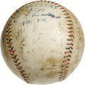 Autographs:Baseballs, 1918 Boston Red Sox Team Signed Baseball with Babe Ruth. For yearsit was the sing-song chant that welcomed any Boston supp...