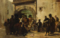 Fine Art - Painting, European:Antique  (Pre 1900), GEORGES JULES VICTOR CLAIRIN (French 1843-1919). A Puppetshow OnA Spanish Street, 1869. Oil on canvas. 30-1/2 x 47 inch...