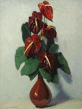 Fine Art - Painting, American:Modern  (1900 1949)  , JANE PETERSON (American 1876-1965). Anthuriums. Oil oncanvas. 40-1/2 x 30-1/2 inches (102.9 x 77.5 cm). Signed lowerle...