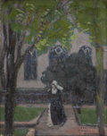 Fine Art - Painting, European:Modern  (1900 1949)  , FRENCH SCHOOL (Early Twentieth Century). Nun In A CourtyardGarden. Oil on canvas. 16 1/2 x 13 inches. Signed and inscri...