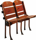 Basketball Collectibles:Others, 1928 Boston Garden Dual Stadium Seats with Boston Celtics & Bruins Autographs. Ancient pair of attached stadium seats bore ...