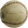 "Autographs:Baseballs, Circa 1929 Jimmie Foxx & Connie Mack Signed Baseball. The TallTactician's second great dynasty is remembered with this ""Of..."
