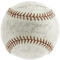 Autographs:Baseballs, 1943 New York Yankees Team Signed Baseball. The loss of JoeDiMaggio to the war effort couldn't slow down the mighty Yanks,...