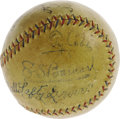 Autographs:Baseballs, Late 1920's Legends Signed Baseball with Ruth, Gehrig, Cobb, Speaker. You couldn't ask for a better cast of characters than...