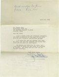Autographs:Others, 1963 Dickie Kerr's Last Autograph?? This pint-sized southpawarrived at Comiskey Park as a rookie in the fateful 1919 seaso...