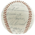 Autographs:Baseballs, 1956 New York Giants Team Signed Baseball. The second to lastseason at the Polo Grounds for this storied ballclub, documen...