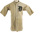 Baseball Collectibles:Uniforms, 1922 Bert Cole Game Worn Detroit Tigers Uniform. Spectacular heavygrey wool flannel full uniform was worn by this young so...