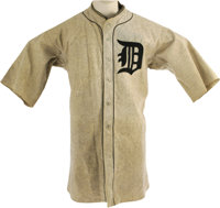 1922 Bert Cole Game Worn Detroit Tigers Uniform. Spectacular heavy grey wool flannel full uniform was worn by this young...