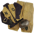 Football Collectibles:Uniforms, 1890's-1900's Notre Dame Game Worn Full Football Uniform....