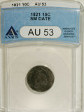 Bust Dimes: , 1821 10C Large Date AU53 ANACS. NGC Census: (5/140). PCGS Population (5/101). Mintage: 1,186,512. Numismedia Wsl. Price for...
