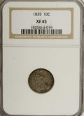 Bust Dimes: , 1835 10C XF45 NGC. NGC Census: (18/343). PCGS Population (24/261).Mintage: 1,410,000. Numismedia Wsl. Price for NGC/PCGS c...