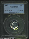 "Proof Roosevelt Dimes: , 1953 10C PR 64 PCGS. Mintage: 128,800. The latest Coin World ""..."