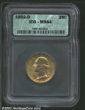 Washington Quarters: , 1932-D 25C MS64 ICG. Mintage: 436,800. ...